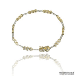Shop 10ct White & Yellow Gold 0.15ct Diamond Bracelet – Order Online Today For Next Day Delivery
