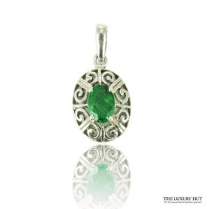 Shop 9ct White Gold Emerald Pendant - Order Online Today For Next Day Delivery