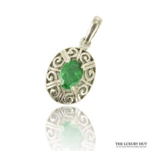 Shop 9ct White Gold Emerald Pendant - Order Online Today
