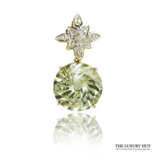 Shop 9ct Yellow & White Gold Green Garnet & Diamond Pendant - Order Online Today For Next Day Delivery