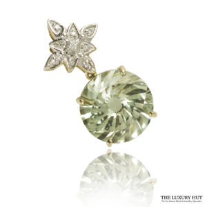 Shop 9ct Yellow & White Gold Green Garnet & Diamond Pendant - Order Online Today