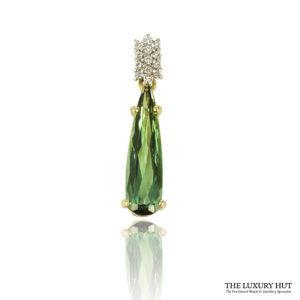 Shop 18ct Yellow Gold Tourmaline & Diamond Pendant - Order Online Today For Next Day Delivery