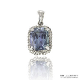 Shop 9ct White Gold Blue Topaz & Diamond Pendant - Order Online Today For Next Day Delivery