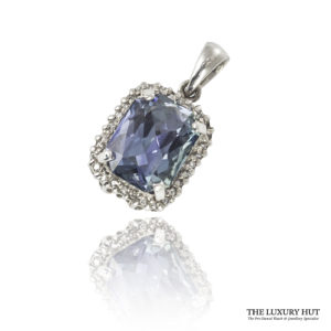 Shop 9ct White Gold Blue Topaz & Diamond Pendant - Order Online Today