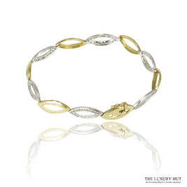 Shop 9ct White & Yellow Gold 0.78ct Certified Diamond Oval link Bracelet - Order Online Today For Next Day Delivery