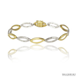 Shop 9ct White & Yellow Gold 0.78ct Certified Diamond Oval link Bracelet - Order Online Today