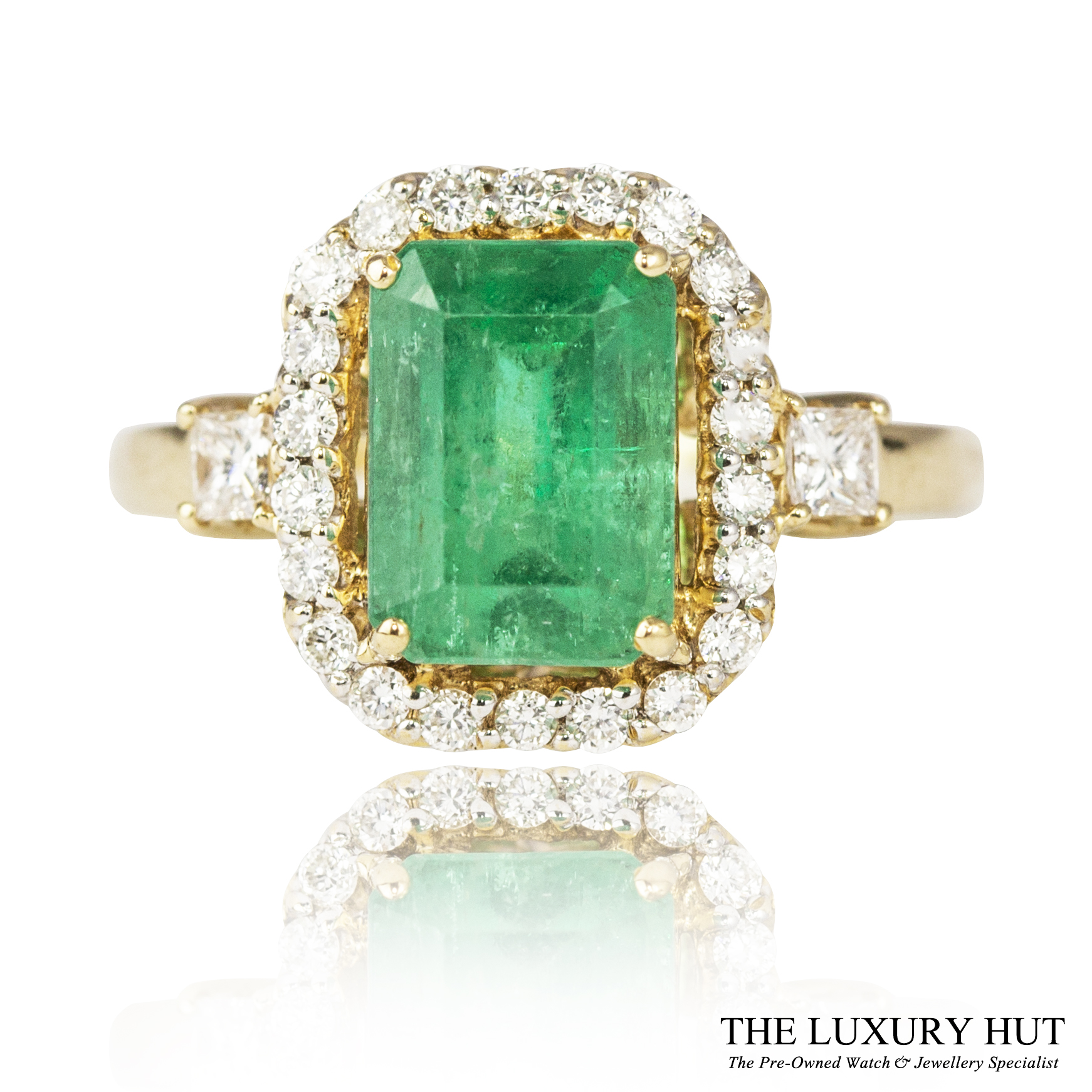 6b0f6085f Details about 18CT GOLD 2.85CT CERTIFIED EMERALD & DIAMOND ENGAGEMENT RING